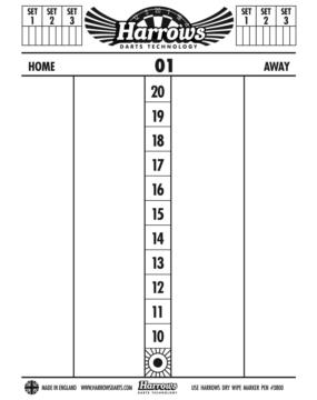 HARROWS tablica wyników Dry Wipe Score Board