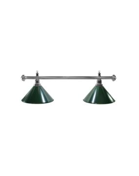 Lampa bilardowa ELEGANCE 2-klosze zielone, srebrny